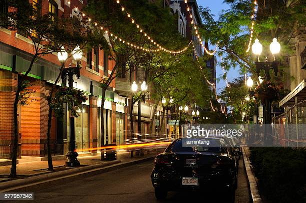 night view of westminster street in providence - providence rhode island stock photos and pictures