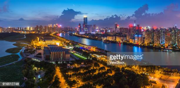 night view of wuhan city, hankou, hubei - wuhan city stock photos and pictures