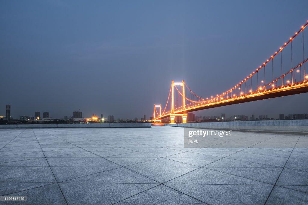 Night view of Wuhan yingwuzhou bridge. : Stock Photo