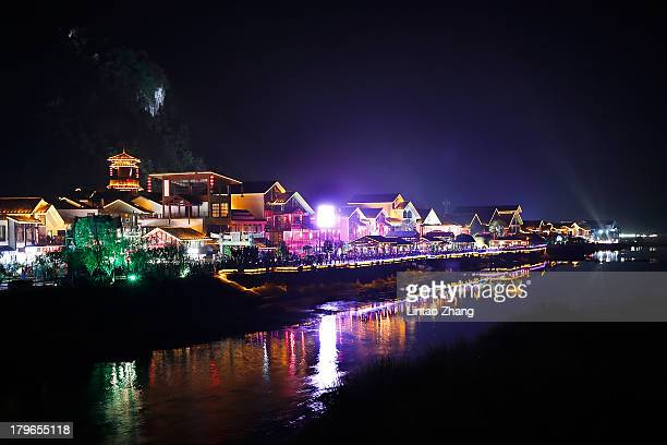 A night view of Wulingyuan district on September 1 2013 in Zhangjiajie China Zhangjiajie National Forest park is a popular tourist destination in the...