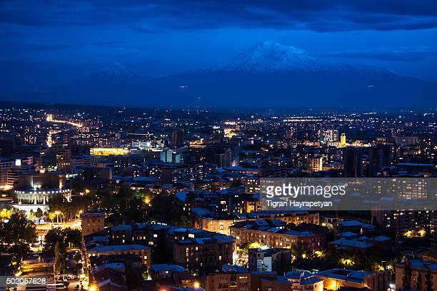 night view of yerevan and mt. ararat from cascade, armenia - コーカサス ストックフォトと画像
