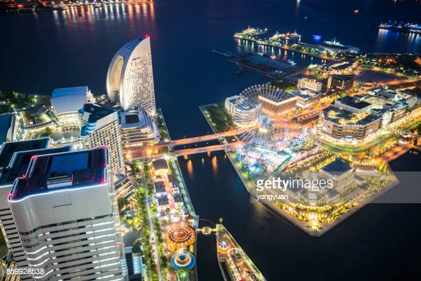 night view of yokohama - kanagawa prefecture stock pictures, royalty-free photos & images