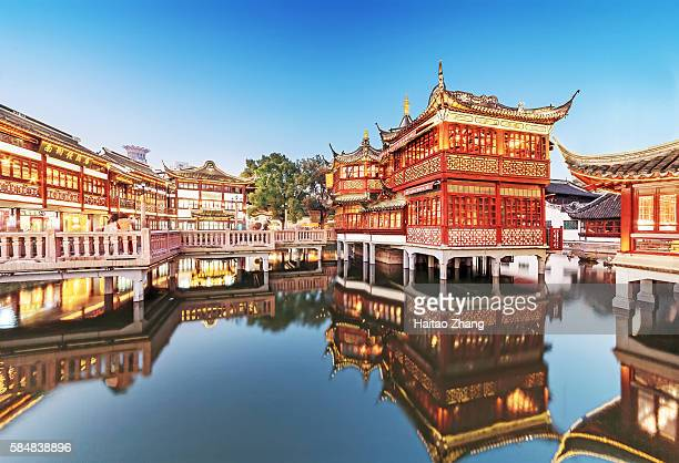 night view of yu garden in shanghai - shanghai stock pictures, royalty-free photos & images