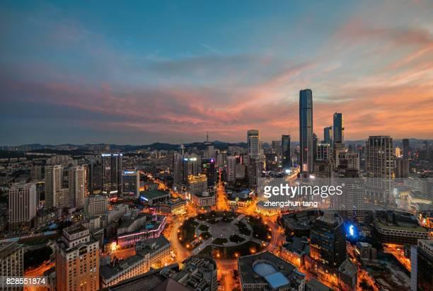 night view of zhongshan square. - zhongshan stock-fotos und bilder