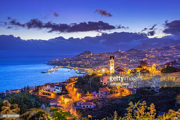 night view on funchal on madeira - funchal stock pictures, royalty-free photos & images