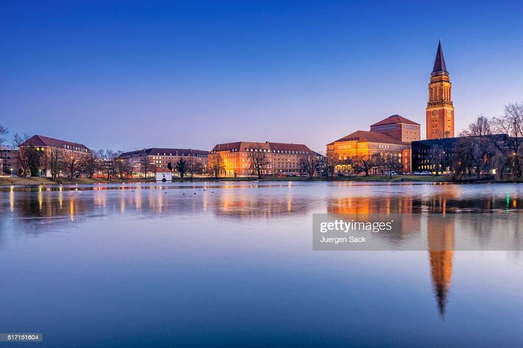 Night view on Kiel, Schleswig-Holstein : Stock Photo