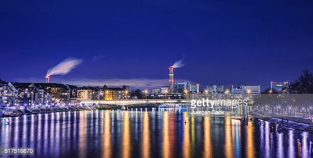 Night view over Basel and River Rhine
