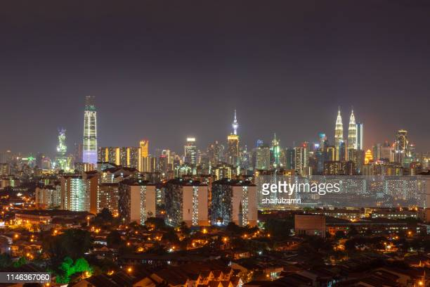 night view over downtown kuala lumpur, malaysia. - shaifulzamri bildbanksfoton och bilder