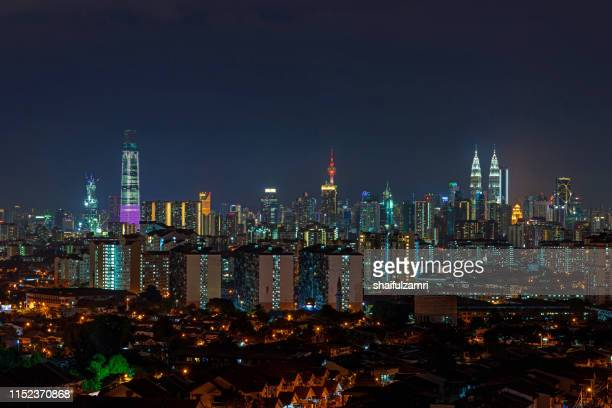 night view over downtown kuala lumpur, malaysia. - shaifulzamri imagens e fotografias de stock