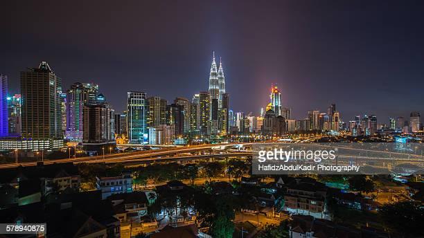 Night view over Kuala Lumpur city during rush hour