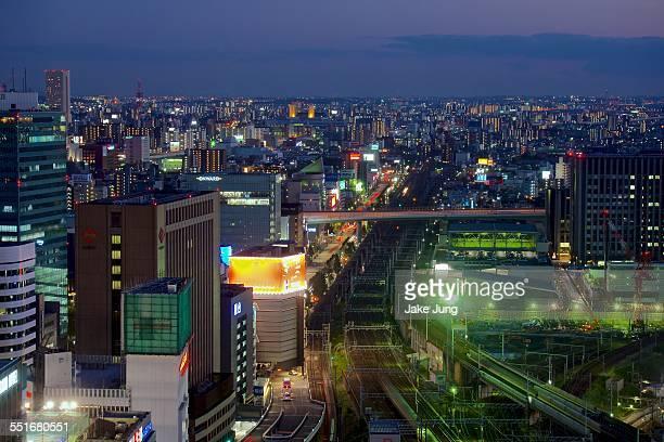 Night view over Nagoya station train tracks