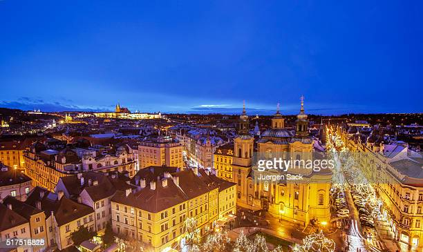 Night view over Prague in Advent