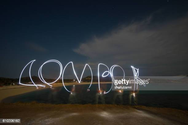 night view over tanjung ann in lombok, indonesia - shaifulzamri stock-fotos und bilder