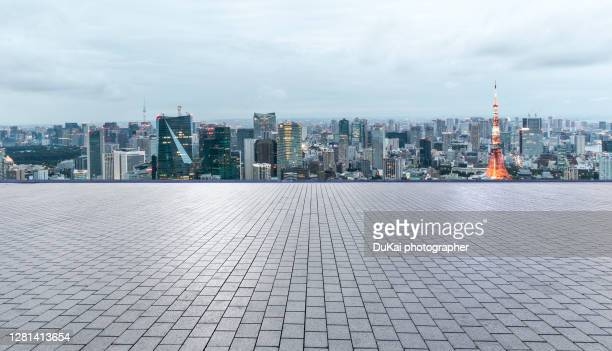 night view plaza, tokyo, japan - square stock pictures, royalty-free photos & images