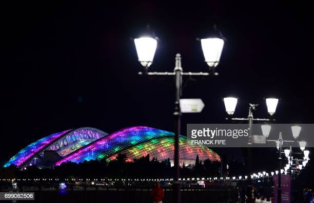 A night view shows the Fisht stadium during the Russia 2017 Confederations Cup football tournament in Sochi on June 20 2017 / AFP PHOTO / FRANCK FIFE