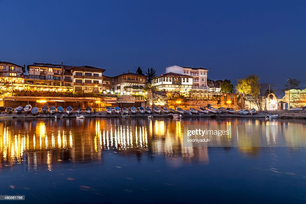 Night view to the costal city : Stock Photo