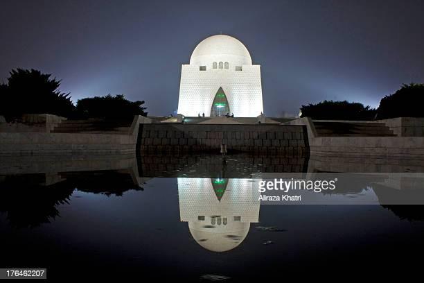 Night View, Tomb of Founder of Pakistan, Muhammad Ali Jinnah, Karachi, Pakistan.