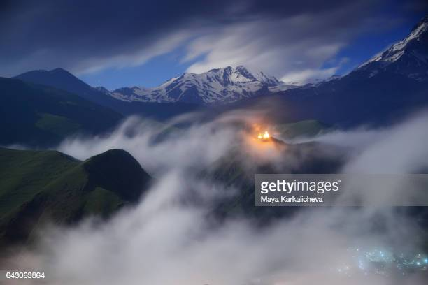 Night view towards a Caucasus mountain, Kazbegi region