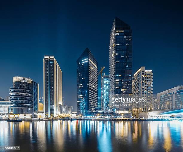 CONTENT] Night view with reflections Architecture in Dubai Marina