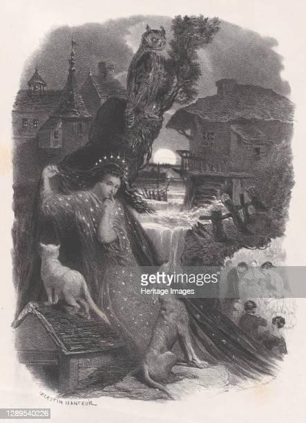 Night; vignette of girl in 18th century costume picking roses on verso, ca. 1830-65. Artist C�lestin Nanteuil.
