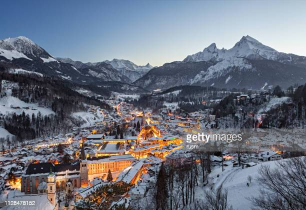 night winter aerial panorama of berchtesgaden old town, germany - germany stock pictures, royalty-free photos & images