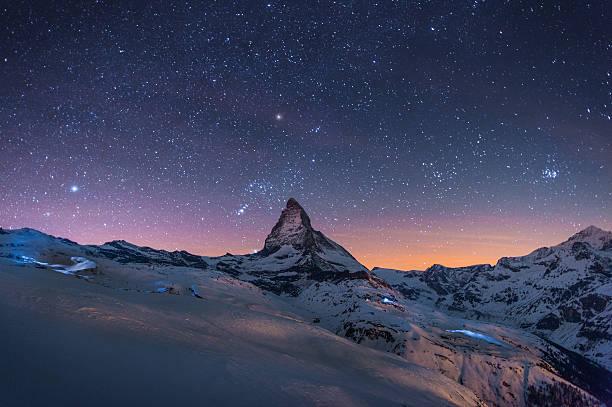 Night Winter Landscape Of Matterhorn Wall Art