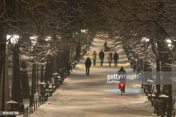 A night winter view of Planty Park in Krakow city center On Sunday 21 January 2018 in Krakow Poland