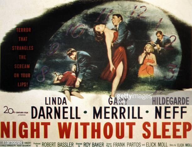 Night Without Sleep poster center from left Linda Darnell Gary Merrill right from left Hildegard Knef Gary Merrill 1952