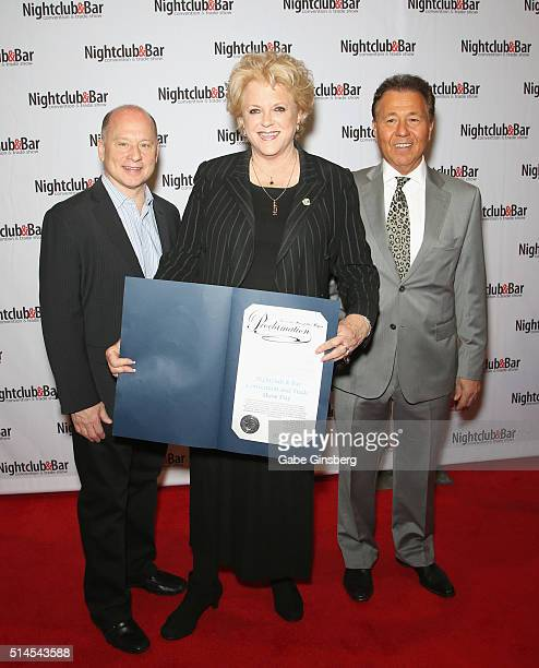 Nightclub Bar Advisory Board Vice Chairman Barry Gutin Las Vegas Mayor Carolyn Goodman and Nightclub Bar Advisory Board Chairmen Thom Greco attend...