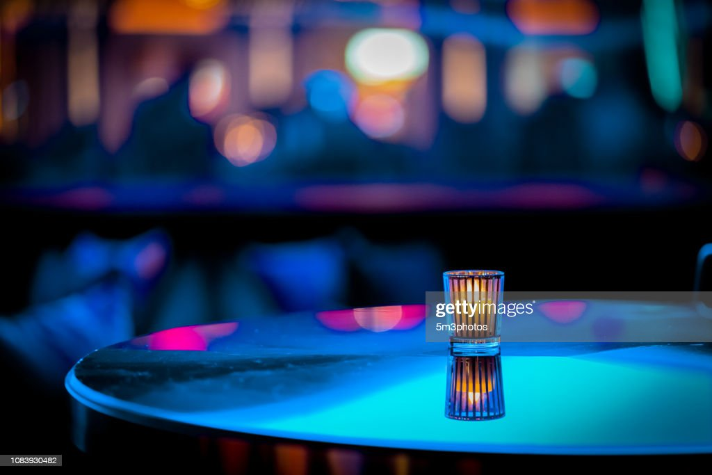 Nightclub bar scene of abstract nightlife with candle and table at restaurant : Stock Photo