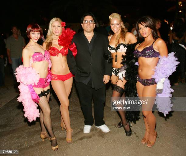 Nightclub entrepreneur Ivan Kane arrives with burlesque performers Anna O'Keefe Melissa Chiz Sheila Joy and Carolyn Pace at the fourth anniversary...