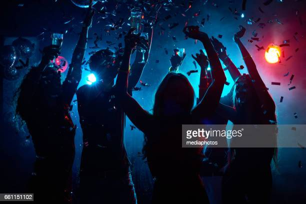 nightclub party with confetti - dancing stock pictures, royalty-free photos & images
