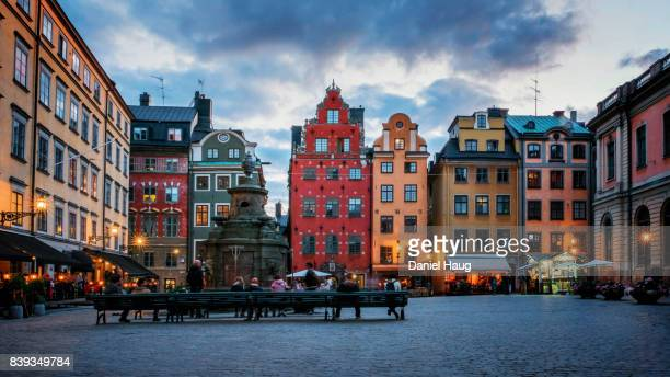 nightfall on stortorget square in stockholm's old town - stockholm stock pictures, royalty-free photos & images