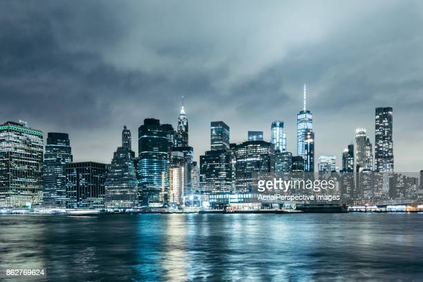 Nightfall over Manhattan financial district in New York, USA