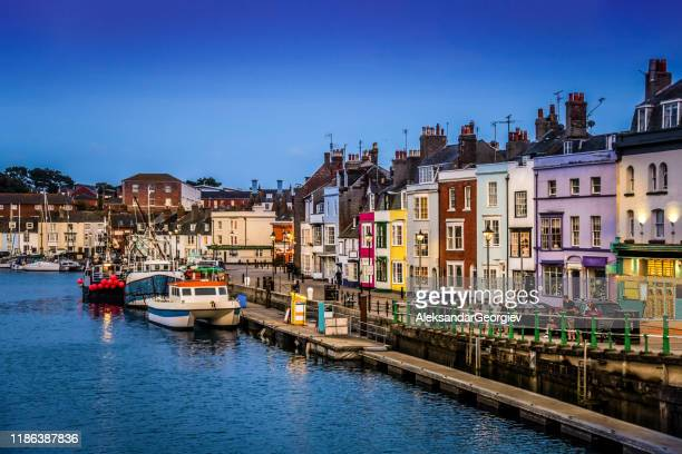 nightfall over waymouth - weymouth dorset stock pictures, royalty-free photos & images