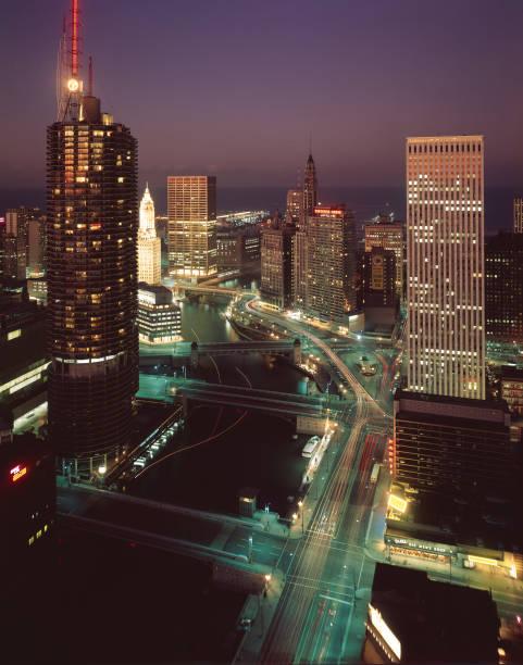 Marina City, Wacker Drive, & The Chicago River At Night