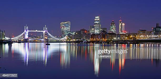 nightime London skyline And river view.