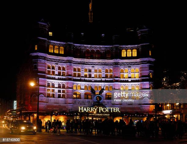 Nightime shot of The Palace Theater building exterior, featuring Harry Potter the Cursed Child play on July 14, 2017 in London,England.