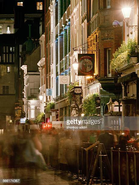 Nightlife along a narrow street