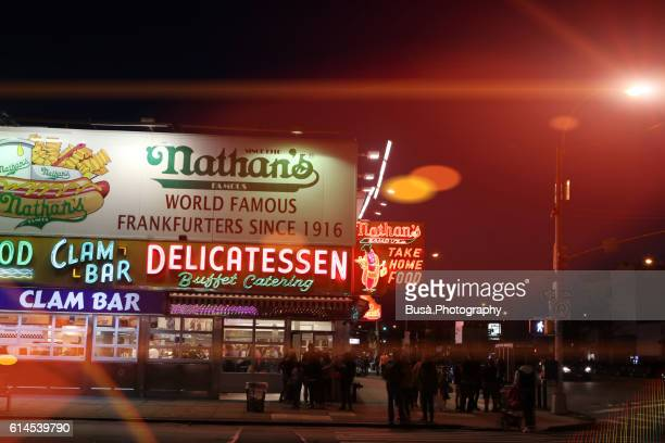 Nightlife at Coney Island, Nathan's Famous Hot Dogs & Restaurants at night