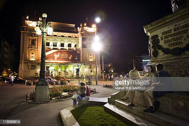 Nightlife at Republic Square, popular meeting point for Belgraders, on June 13, 2009 in Belgrade, Serbia It is the site of some of Belgrade's most...