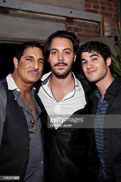 Nightlife mogul Nur Khan actor Jack Huston and actor Darren Criss attend the soft opening of The Writers Room on October 13 2011 in Los Angeles...