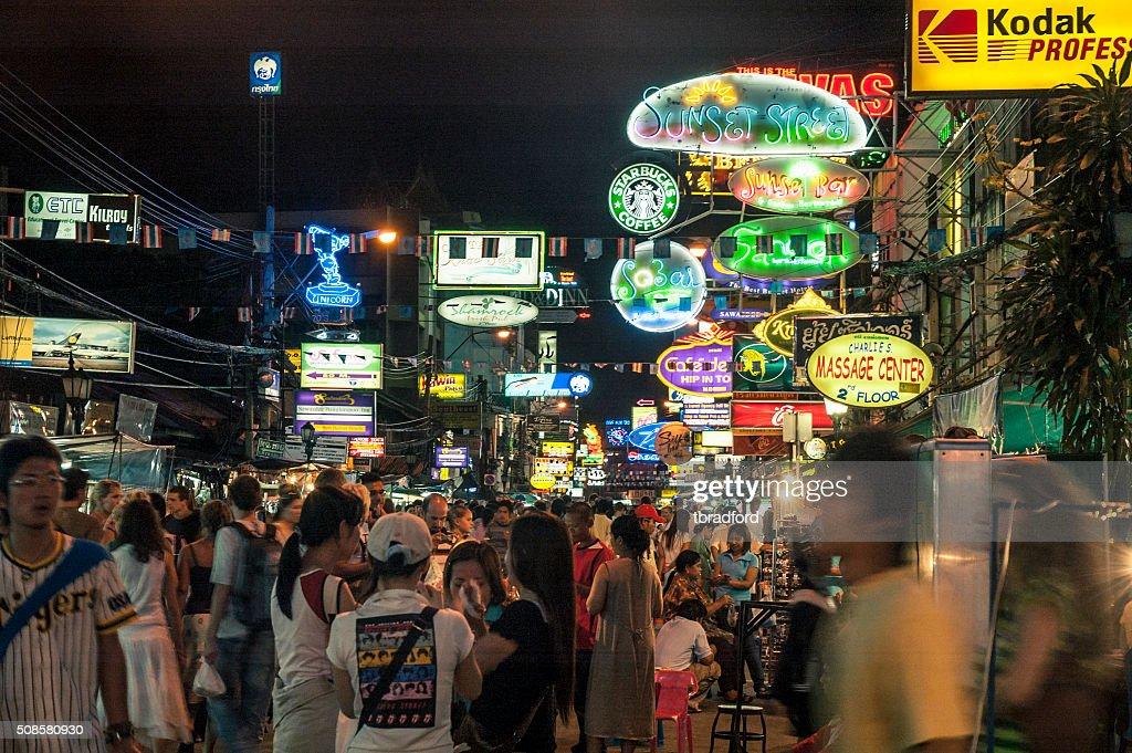 Nightlife On The Khao San Road In Bangkok, Thailand : Stock Photo