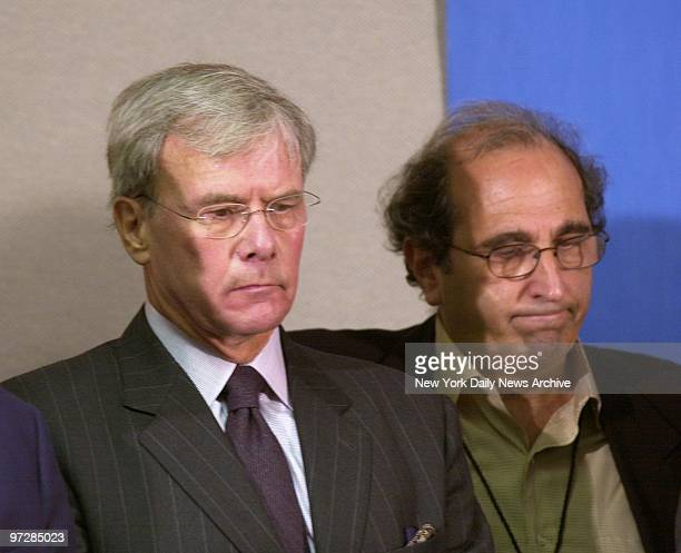 Nightly News anchor Tom Brokaw and NBC President Andy Lack listen somberly at news conference inside NBC office at 30 Rockefeller Center where it was...