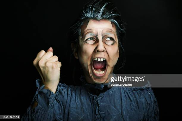 nightmare - old ugly woman stock photos and pictures