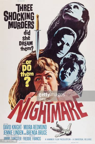 Nightmare, poster, from top: David Knight, Moira Redmond, Jennie Linden on poster art, 1964.
