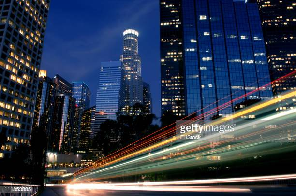 Nightscape Downtown Los Angeles with Headlights Trailing