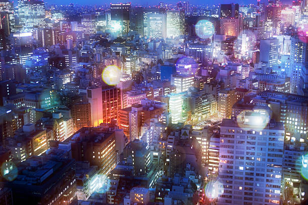 Nightscape in Tokyo with a lot of glow