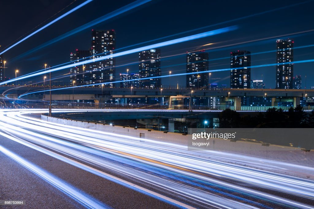 Nightscape of highway at Tokyo city : ストックフォト