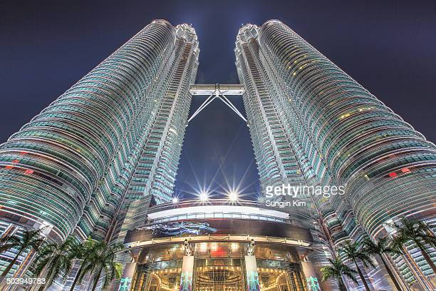 Nightscape of petronas twin tower looked up from bottom, Kuala Lumpur, 2013
